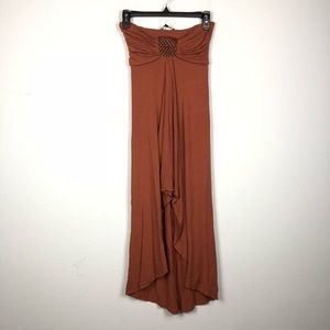 Sky Brown Strapless High Low Dress Braided Leather